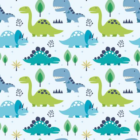 Artistic Vector illustration seamless pattern with Dinosaurs. Vettoriali