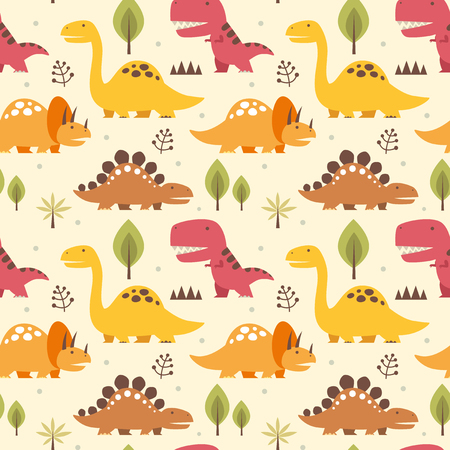 textured backgrounds: Artistic Vector illustration seamless pattern with Dinosaurs in colorful design.