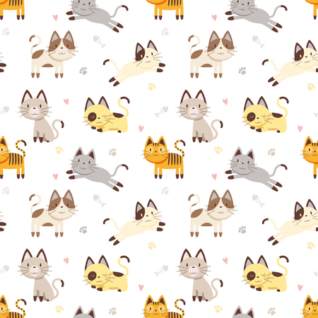 pattern: Vector illustration seamless pattern with Cartoon Cat character Illustration