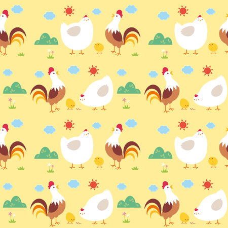 Vector illustration seamless pattern with Cartoon Chicken family