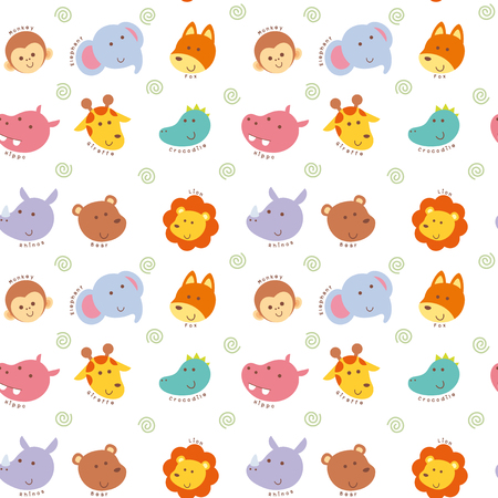 paper texture: Vector illustration seamless pattern with cute wild animal face cartoon Illustration