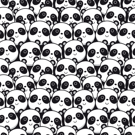 Vector illustration seamless pattern with panda