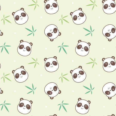 face to face: Vector illustration seamless pattern with panda