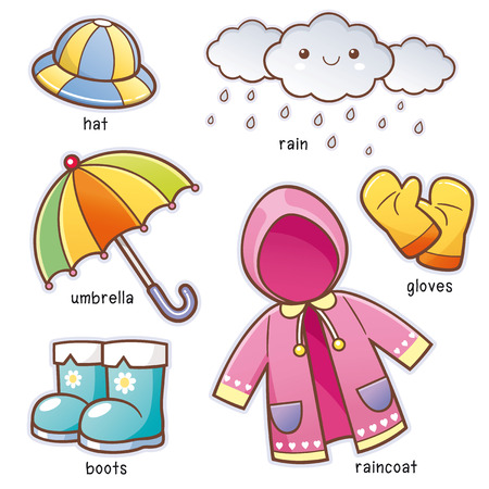 Vector illustratie van de woordenschat van de regenkleding van Cartoon