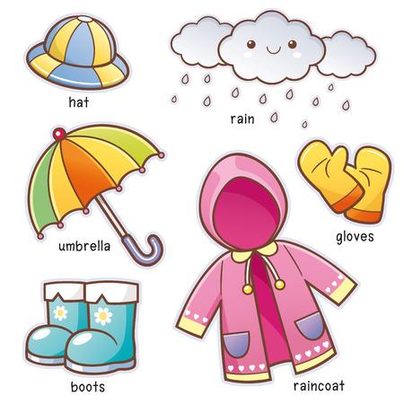 Illustration vectorielle de vocabulaire de vêtements de pluie de dessin animé