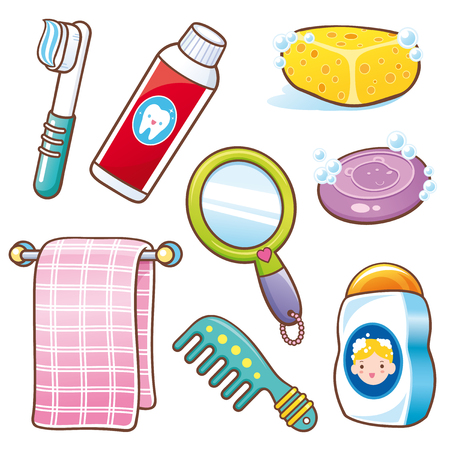 Illustration de l'ensemble d'accessoires de salle de bains Cartoon