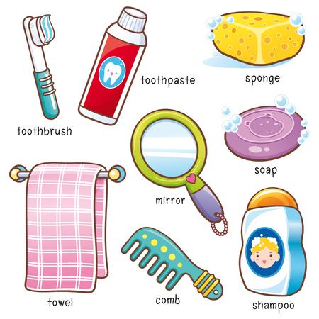 Vectorillustratie van de woordenschat van de Badkamers van de Badkamers van de Cartoon Stock Illustratie