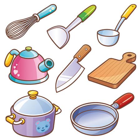 Vector illustration of Cartoon kitchen tools set
