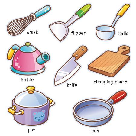 Vector illustration of Cartoon kitchen tools vocabulary Illustration