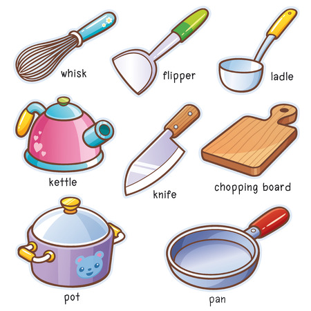 Vector illustration of Cartoon kitchen tools vocabulary Illustration