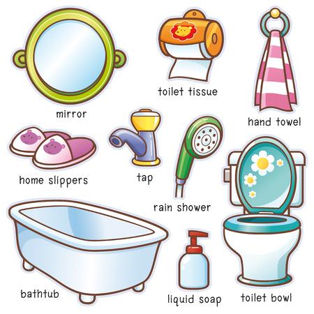 Vector illustratie van Cartoon badkamer toebehoren woordenschat