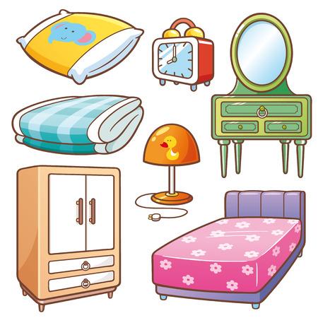 Vectorillustratie van Cartoon slaapkamer element ingesteld