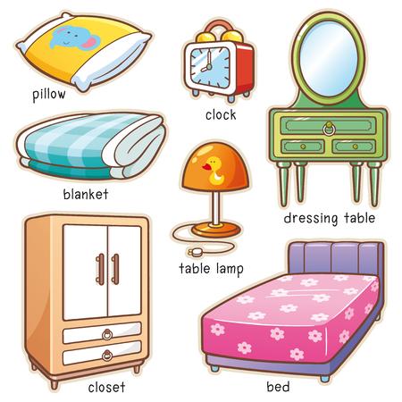 Illustration vectorielle du vocabulaire de l'élément de chambre à dessin animé