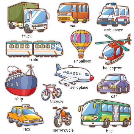 Vector Illustration of Cartoon Transportation vocabulary