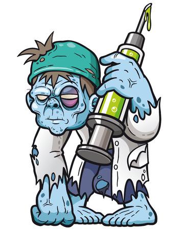 Vector illustration of cartoon zombie doctor