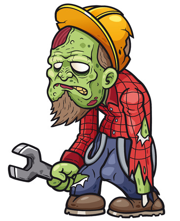 Vector illustration of cartoon zombie mechanic