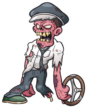 Vector illustration of cartoon zombie driver