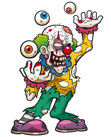 Vector illustration of Cartoon clown zombie
