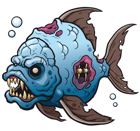 A Vector illustration of Cartoon fish zombie.