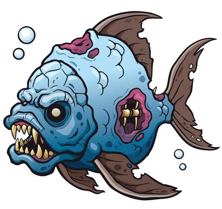 A Vector illustration of Cartoon fish zombie.