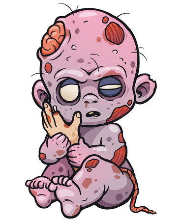 A Vector illustration of Cartoon Baby zombie.