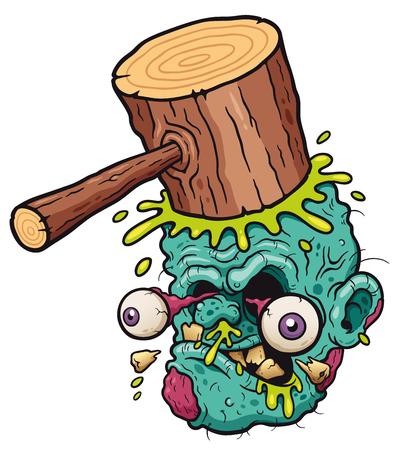 Vector illustration of Cartoon funny hammer banging zombie head