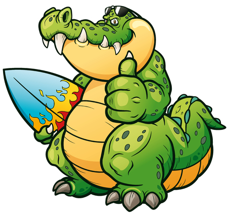Vector illustration of Cartoon crocodile with surfboard