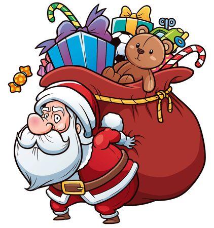 A Vector Illustration of Cartoon Santa Claus holding big gift bag
