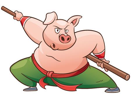 Vector illustration of Cartoon Kung fu pig