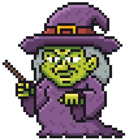 Vector illustration of Cartoon Witch - Pixel design Vectores