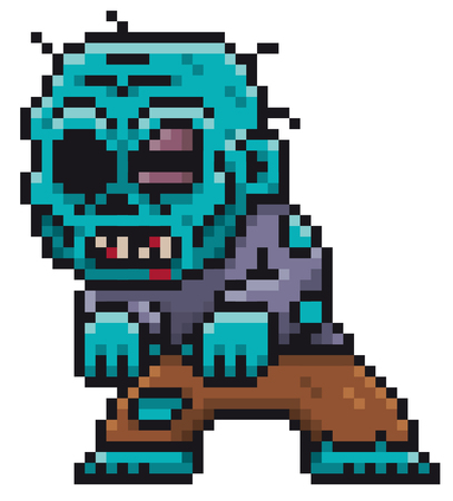 Vector illustration of Cartoon Zombie - Pixel design