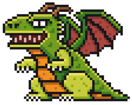 Vector illustration of Cartoon Dragon - Pixel design