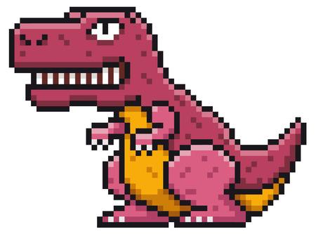 Vector illustration of Cartoon Dinosaur  Pixel design