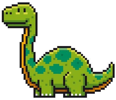 Vector illustration of Cartoon Dinosaur Pixel design Illustration