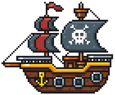 Vector illustration of cartoon pirate ship pixel design