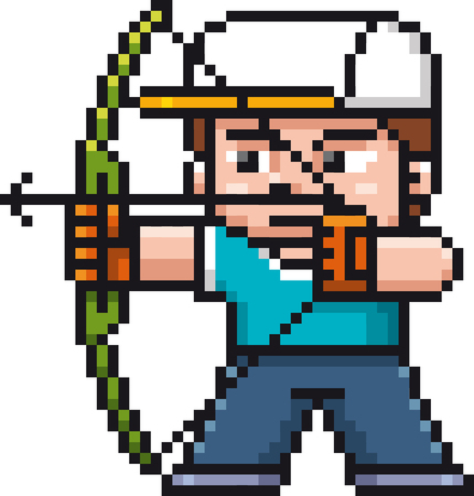 Vector illustration of Cartoon Archery player - Pixel design