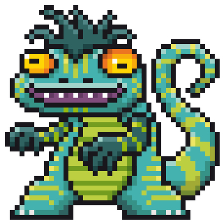 Vector illustration of Cartoon Monster - Pixel design