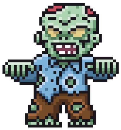 Vector illustration of Cartoon Zombie - Pixel design
