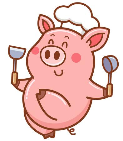 Illustration vectorielle de cochon chef de dessin animé Vecteurs