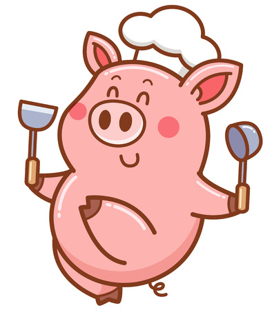 Vector illustration of cartoon chef pig Иллюстрация