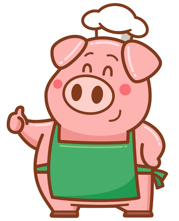 Vector illustration of cartoon chef pig Ilustração