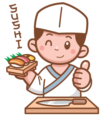 Vector illustration of Cartoon Japanese chef