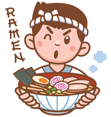 Vector illustration of Cartoon Chef Japanese noodles presenting food