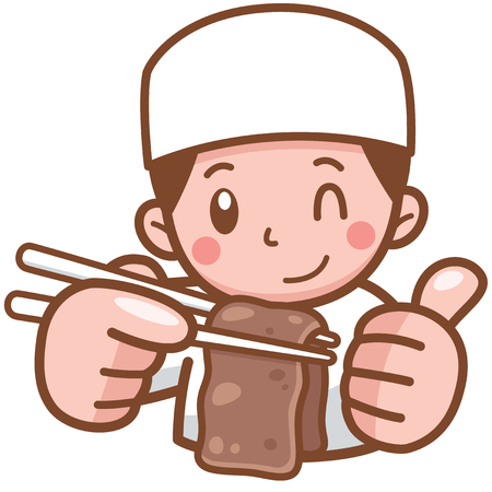 Vector illustration of Cartoon Chef presenting food beef grill