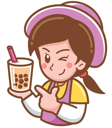 Illustrazione vettoriale di cartone animato femminile che presenta Bubble tea