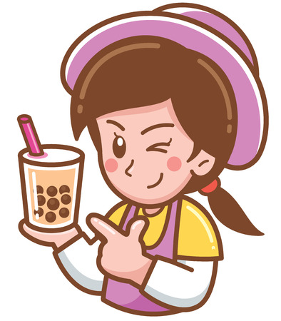 Vector illustration of Cartoon Female presenting Bubble tea