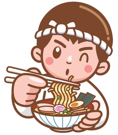 Illustration vectorielle de nouilles japonaises Cartoon Chef présentant de la nourriture