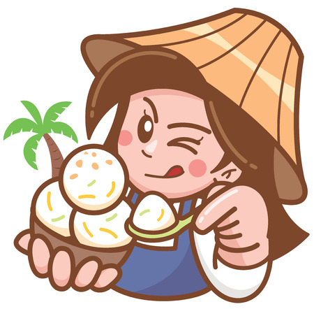 Vector illustration of Cartoon Coconut Ice cream seller presenting food Ilustração