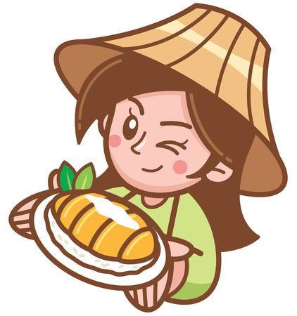 Vector illustration of Cartoon Female presenting Mango sticky rice Illustration