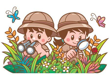 Illustration vectorielle d'aventure Safari garçon et fille